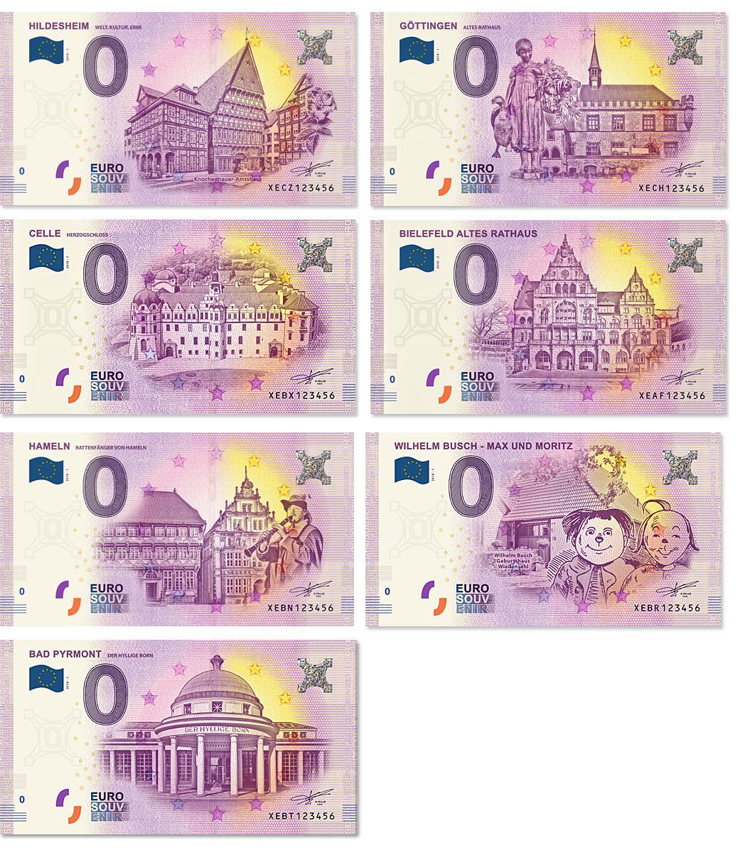 0-Euro-Schein Hildesheim, Goettingen, Celle, Bielefeld, Bad Pyrmont, Max und Moritz, Hameln