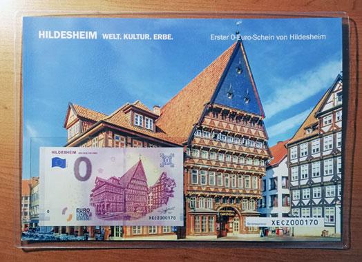 0-Euro-Schein Geschenkblatt Hildesheim