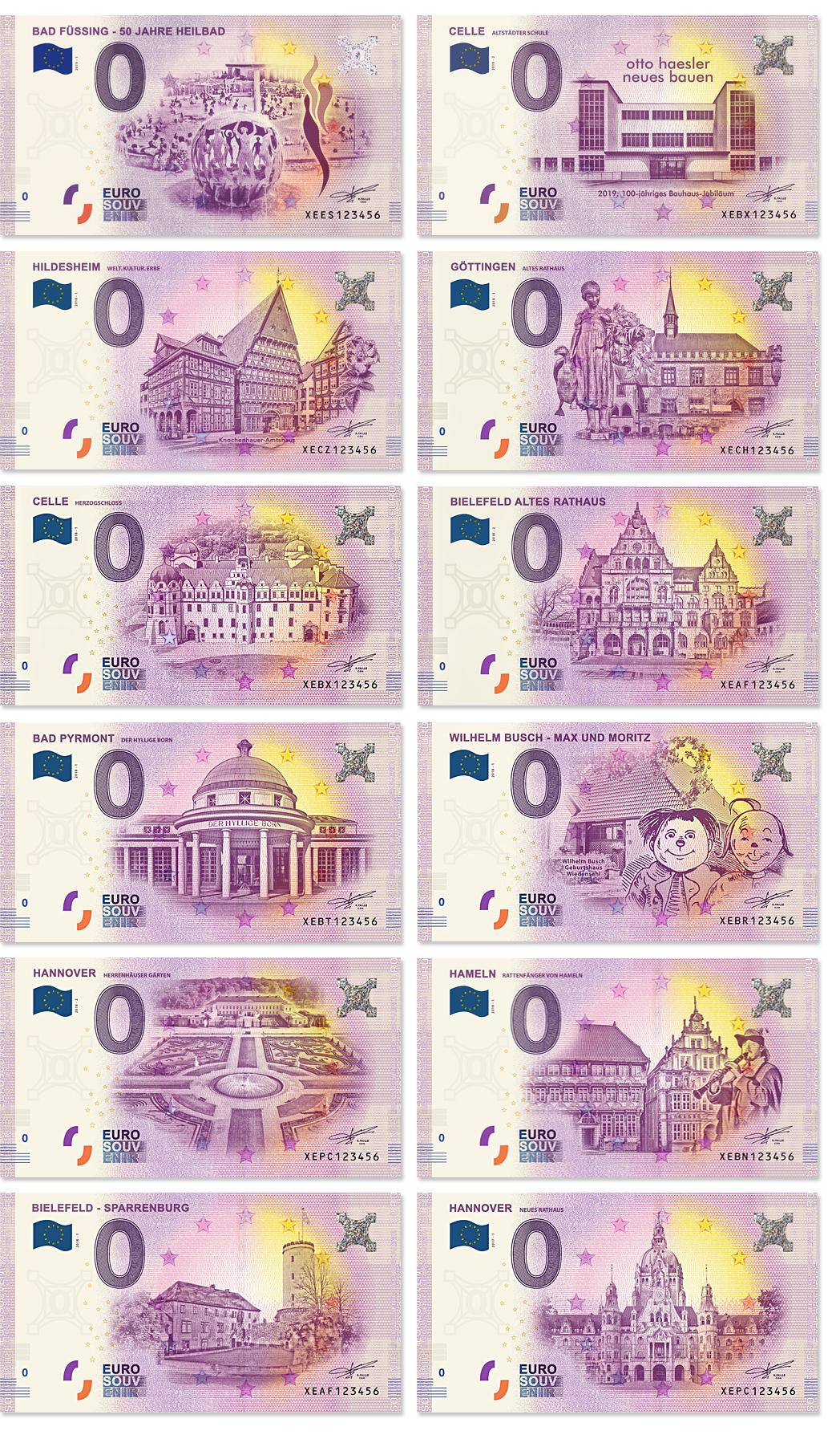 0-Euro-Schein-Hannover-Nordliches-Harzvorland-Celle-Hildesheim-Goettingen-Bielefeld-Bad-Pyrmont-Max-Moritz-Hameln-Goettingen
