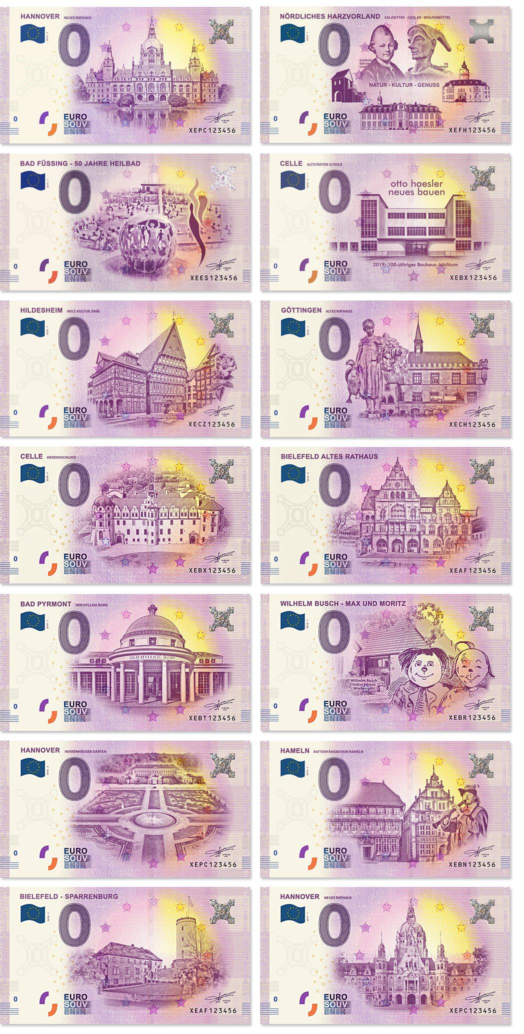 0-Euro-Schein-Hannover-Nordliches-Harzvorland-Celle-Hildesheim-Goettingen-Bielefeld-Bad-Pyrmont-Max-Moritz-Hameln